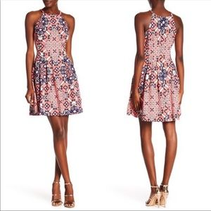 Vince Camuto Pleated print Halter Dress